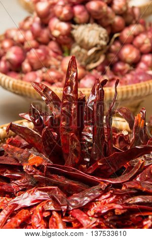 Dried red chilli peppers at the largest spice market