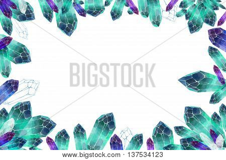 Creative Illustration and Innovative Art: Crystal Clusters. Watercolor Style Artwork. Realistic Fantastic Cartoon Style Artwork Scene, Wallpaper, Story Background, Card Design