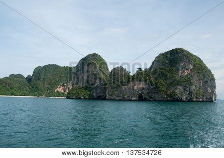 Island view tropical beach andaman seaKrabi Province Thailand
