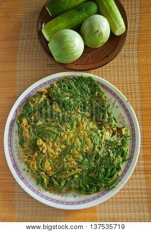 cha-om kai Acacia Pennata Omelet Thai Style