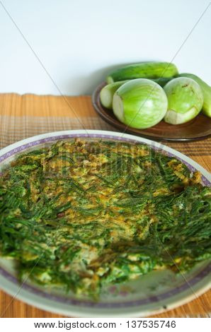 A dish of Thai style omelet with Acacia pennata