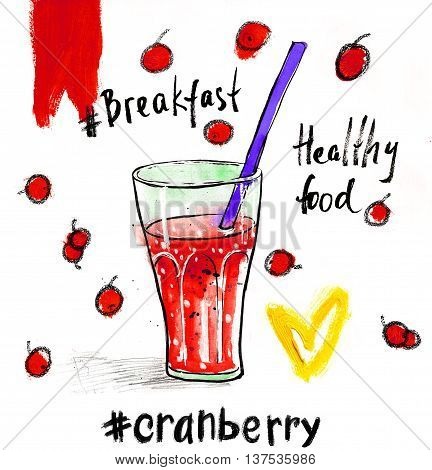 Watercolour illustration with glass of red cranberry juice a straw. Hand drawn picture isolated on white background. Illustration for cooking site menus and food designs.
