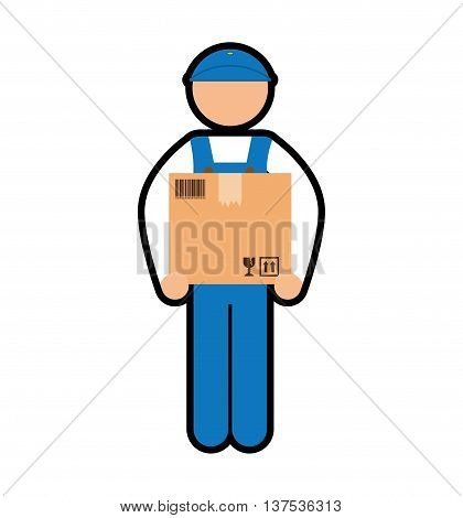 Delivery  concept represented by deliver man with package icon. isolated and flat illustration