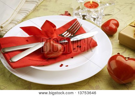 Romantic Dinner.Table place setting for Valentine's Day