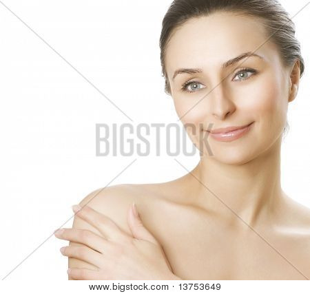 Schöne junge Frau mit frische gesunde Haut.Spa-Frau-Konzept