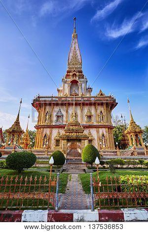 Wat Chalong Temple At Sunny Evening Phuket Thailand