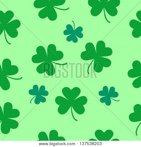 St Patrick's Day Clover seamless pattern. Illustration for lucky spring design with shamrock. Green clover isolated on white background. Ireland symbol pattern. Irish decor for web site.
