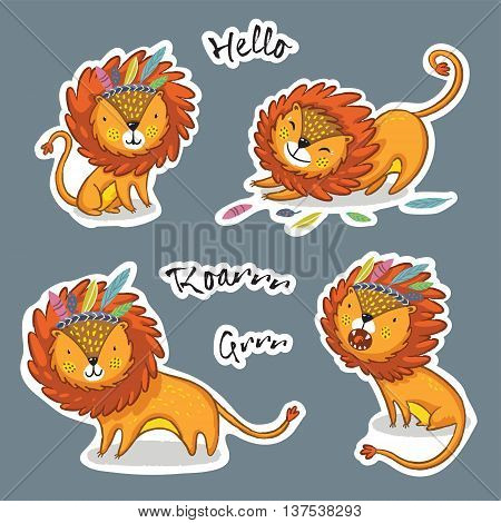 Set of stickers with cute lions, king of the jungle. Vector illustration