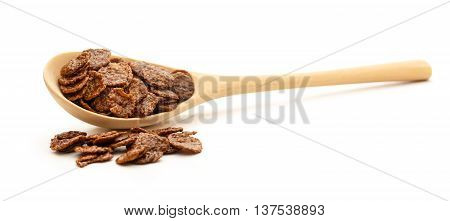 Chocolate Corn Flakes On Wooden Spoon