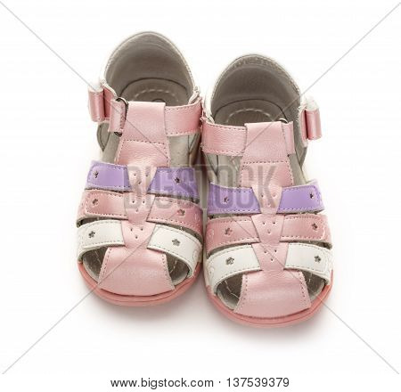 Girl's Pink Sandals On White Background