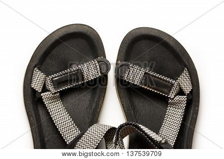 Male Beach Sandals On White Background