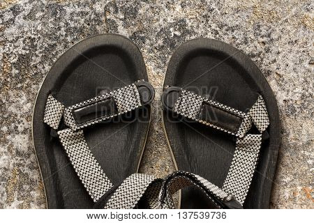 Male Beach Sandals On Stone Background