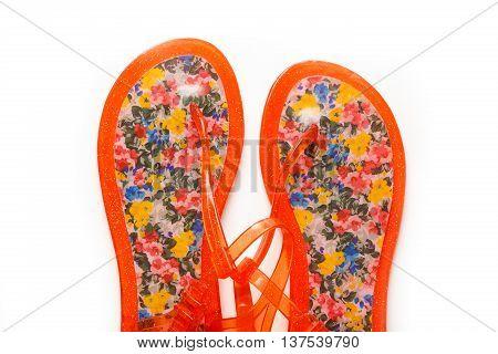 Female Beach Sandals On White Background