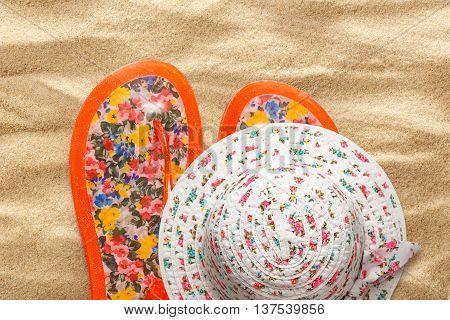 Female Sun Hat And Beach Sandals