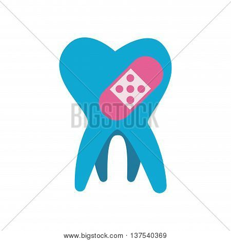 Dental care concept represented by tooth with bandage  icon. isolated and flat illustration