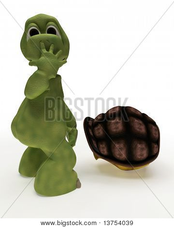 3D Render of a Tortoise Caricature Out of Their Shell