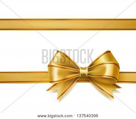 golden ribbon bow on white. vector decorative design elements