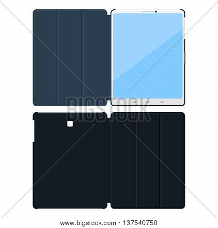 Flat tablet pc cases. Opened inside and outside