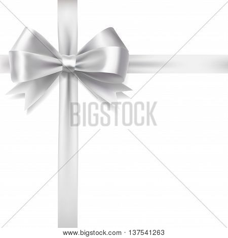 silver ribbon bow over white background. vector decorative design elements