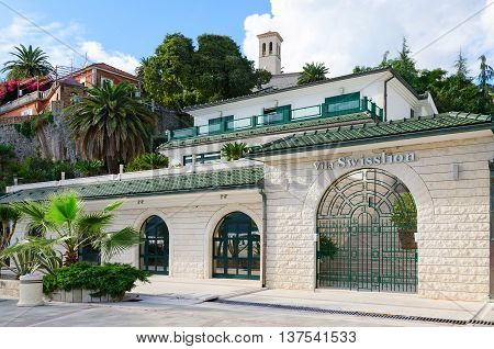 HERCEG NOVI MONTENEGRO - SEPTEMBER 25 2015: Hotel Vila Swisslion on promenade of popular resort town of Herceg Novi Montenegro