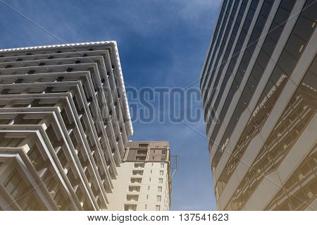 Wellington, New Zealand - March 3 2016: Modern building towers in Wellington New Zealand