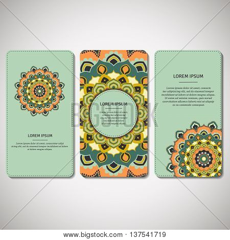 Set of ornamental cards flyers with flower mandala in brown orange beige colors. Vintage decorative elements. Indian asian arabic islamic ottoman motif. Vector illustration.