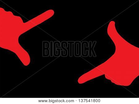 Red hands on black background creating finger frame planning creative composition of photography, design or painting. Vector illustration
