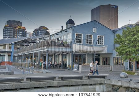 Wellington, New Zealand - March 3 2016: Restaurants on Wellington waterfront, north island of New Zealand