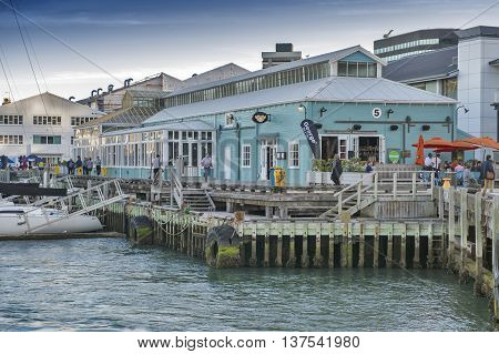 Wellington New Zealand - March 3 2016: Restaurants on Wellington waterfront north island of New Zealand