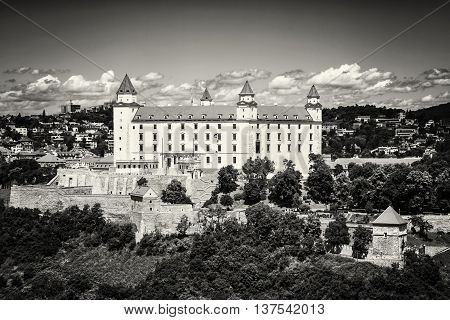 Bratislava castle in capital city of Slovak republic. Architectural theme. Cultural heritage. Travel destination. Black and white photo. Beautiful place. Seat of power.