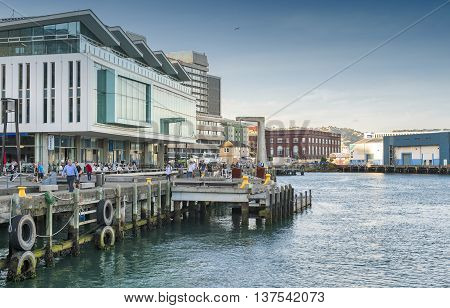 Wellington, New Zealand - March 3 2016: Wellington waterfront, north island of New Zealand