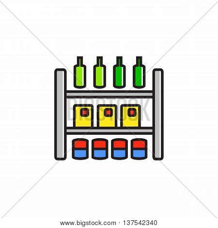Illustration of shop shelves with various goods. Shopping, selling, products. Shopping concept. Can be used for topics like shopping, commerce, food