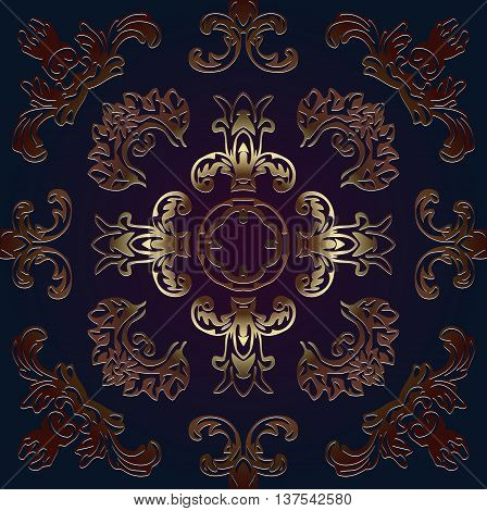 Vintage traditional decor decorative embossed in bronze on a dark background