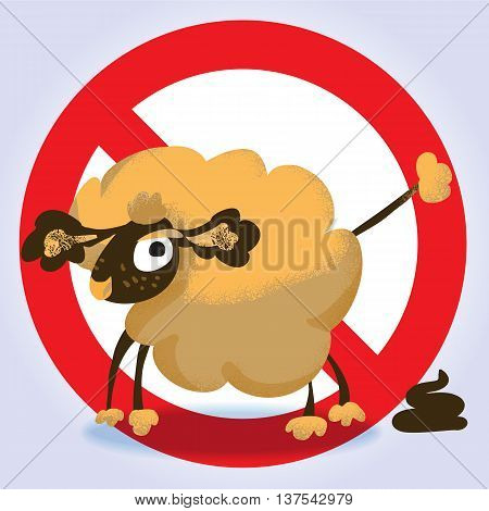 Information sign for dog owners No dog pooping. Vector illustration.