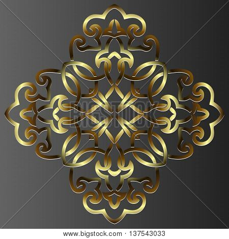 element vintage gold embossed decoration of intertwined lines in the shape of a circle