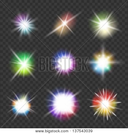 set of vector flashes with color lights