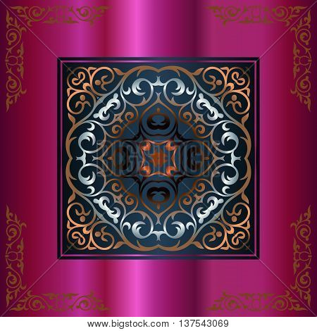 vintage golden decoration of interlaced lines in a square on a pink background with elements of the corner retro patterns
