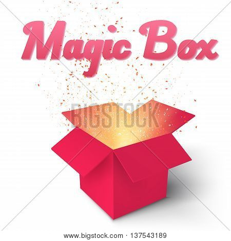 Illustration of Realistic Magic Open Box. Magic Gift Box with Magic Light Comming from Inside Isolated on White Background