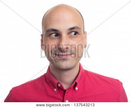 Young Bald Man Looking Away Isolated