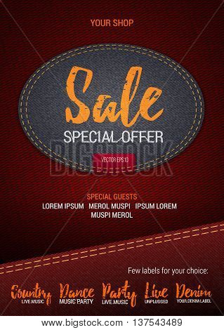 Sale Special Offer flyer or banner with denim background. Vector template with denim label. Caption thread. Print