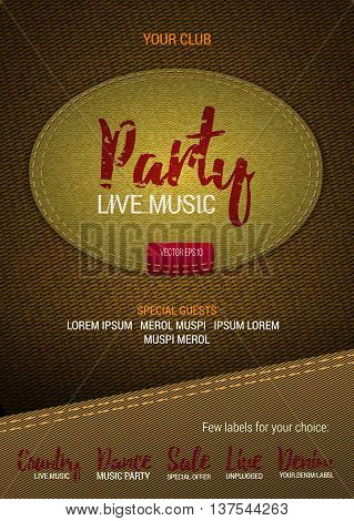 Party Live Music flyer or banner with denim background. Vector template with denim label. Caption thread. Print