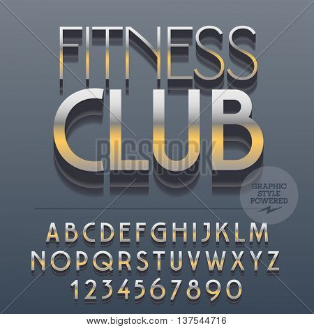 Set of slim reflective alphabet letters, numbers and punctuation symbols. Vector platinum emblem with text Chic shop. File contains graphic styles
