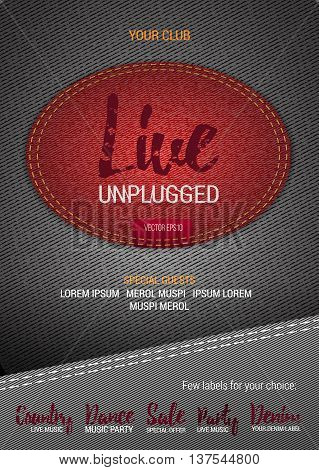 Live Unplugged Music flyer or banner with denim background. Vector template with denim label. Caption thread. Print
