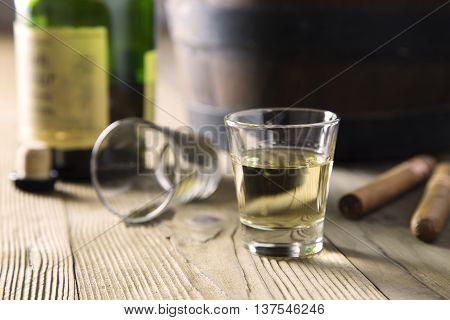 portrait of pair of glasses of Carribean rum