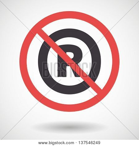 Isolated Forbidden Signal With    The Registered Trademark Symbol