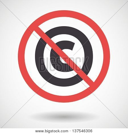 Isolated Forbidden Signal With    The  Copyright Sign