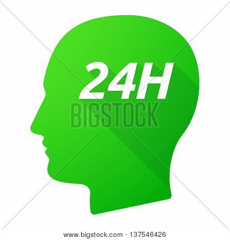Isolated Long Shadow Male Head With    The Text 24H