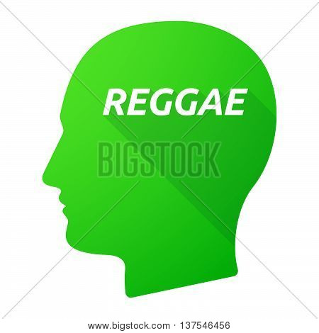 Isolated Long Shadow Male Head With    The Text Reggae