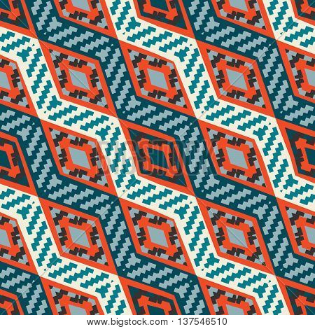Red and blue diagonal stripped african geometric pattern. Abstract ethno pattern for covers web page backgrounds. Vector fabric texture.
