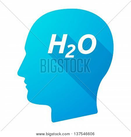 Isolated Long Shadow Male Head With    The Text H2O
